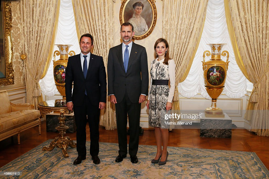 Xaver Bettel with King Felipe VI of Spain and Queen Letizia of Spain during a one day visit to Luxembourg on November 11, 2014 in Luxembourg, Luxembourg.
