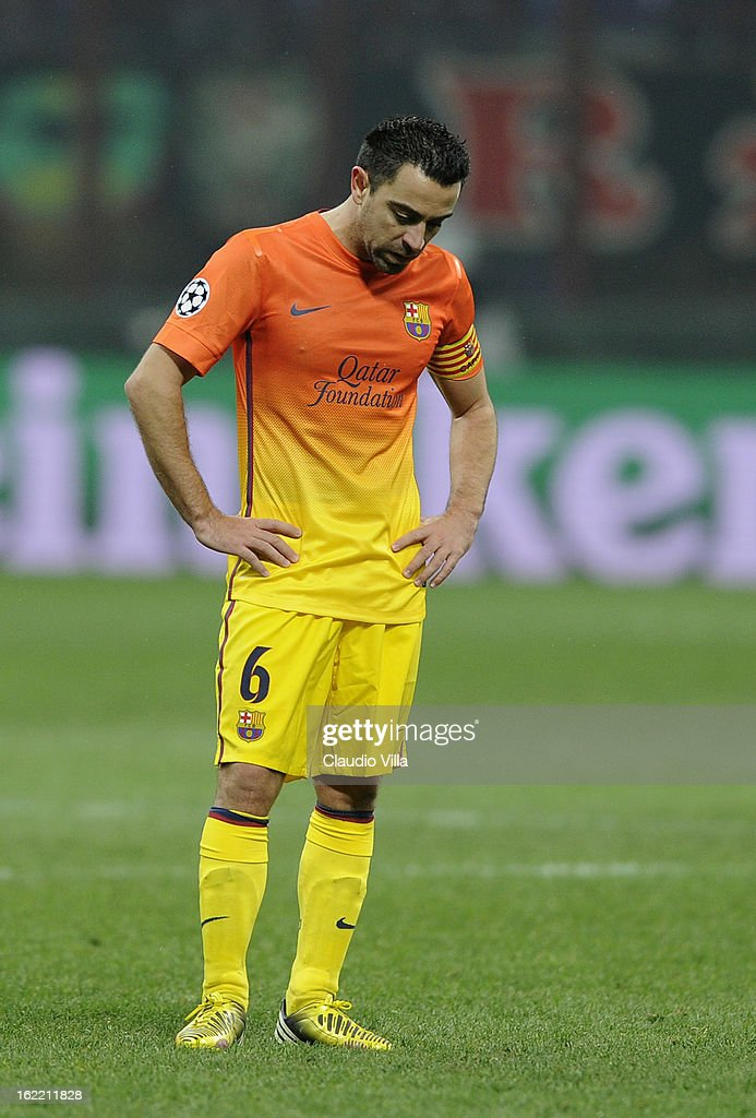 Xavi Fernandez of FC Barcelona dejected during the UEFA Champions League Round of 16 first leg match between AC Milan and Barcelona at San Siro Stadium on February 20, 2013 in Milan, Italy.