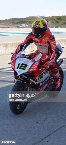 Xavi Fores Ducati Panigale R BARNI Racing Team heads out of pits for start of race at the SBK/MOTUL FIM Superbike World Championship on July 8 2017...