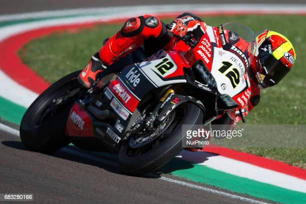 Xavi Fores of BARNI Racing Team during the Warm Up of the Motul FIM Superbike Championship Italian Round at International Circuit quotEnzo and Dino...