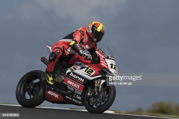 Xavi Fores of Spain and Barni Racing Team heads down a straight during 2017 WorldSBK preseason testing at Phillip Island Grand Prix Circuit on...