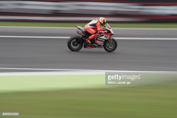 Xavi Fores of Spain and Barni Racing Team heads down a straight before the FIM Superbike World Championship Race 1 at Lausitzring on August 19 2017...