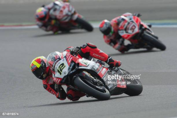 Xavi Fores of Spain and Barni Racing Team leads the field during the FIM World Superbike Championship Assen Race 1 on April 29 2017 in Assen...