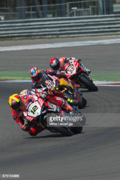 Xavi Fores of Spain and Barni Racing Team leads the field during the race 2 during the FIM World Superbike Championship Assen Race 2 on April 30 2017...