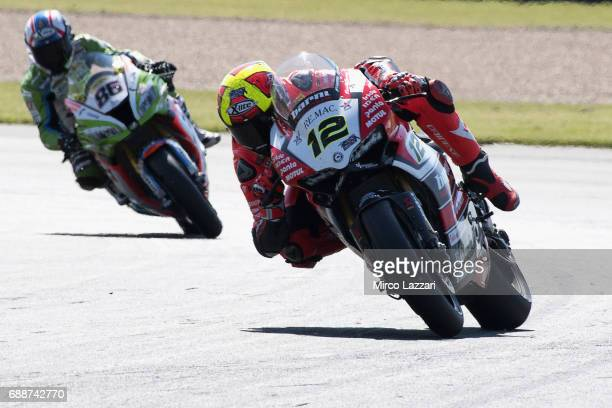 Xavi Fores of Spain and Barni Racing Team leads the field during the FIM Superbike World Championship Qualifying at Donington Park on May 26 2017 in...