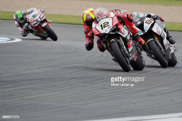 Xavi Fores of Spain and Barni Racing Team leads the field during the Race 1 during the FIM Superbike World Championship Race at Donington Park on May...