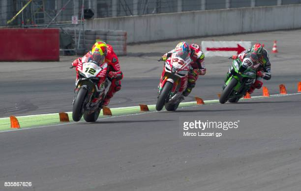 Xavi Fores of Spain and Barni Racing Team leads the field during the Superbike race 2 during the FIM Superbike World Championship Race 2 at...
