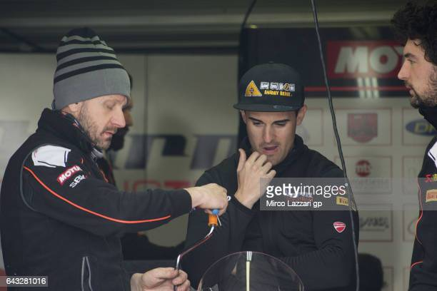 Xavi Fores of Spain and Barni Racing Team looks on in box during 2017 WorldSBK preseason testing at Phillip Island Grand Prix Circuit on February 20...