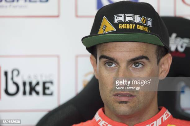 Xavi Fores of Spain and Barni Racing Team looks on in box during the FIM Superbike World Championship Race 1 at Enzo and Dino Ferrari Circuit on May...