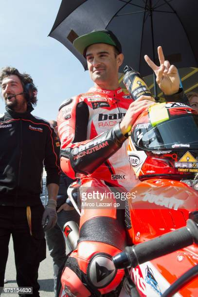 Xavi Fores of Spain and Barni Racing Team prepares to start on the grid during the race 2 during the FIM World Superbike Championship Assen Race 2 on...