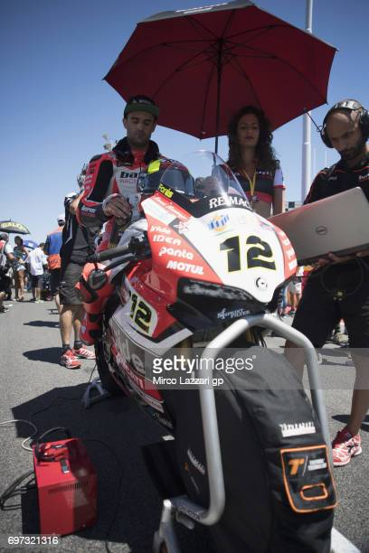 Xavi Fores of Spain and Barni Racing Team prepares to start on the grid during the Superbike Race 2 during the FIM Superbike World Championship Race...