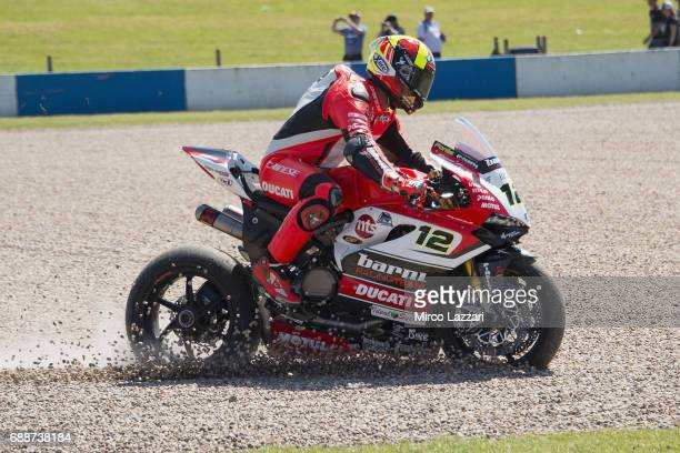 Xavi Fores of Spain and Barni Racing Team rides out of track during the FIM Superbike World Championship Qualifying at Donington Park on May 26 2017...