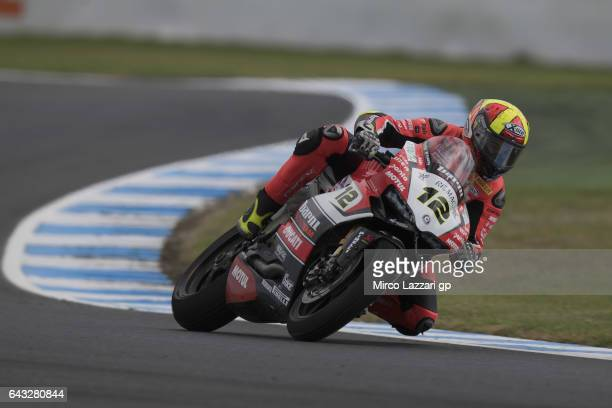 Xavi Fores of Spain and Barni Racing Team rounds the bend during 2017 WorldSBK preseason testing at Phillip Island Grand Prix Circuit on February 20...