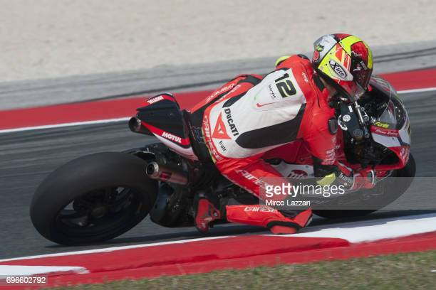 Xavi Fores of Spain and Barni Racing Team rounds the bend during the FIM Superbike World Championship Free Practice at Misano World Circuit on June...