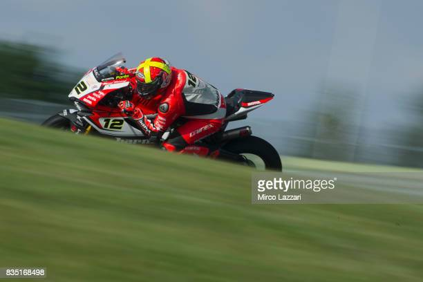 Xavi Fores of Spain and Barni Racing Team rounds the bend during the FIM Superbike World Championship Qualifying at Lausitzring on August 18 2017 in...