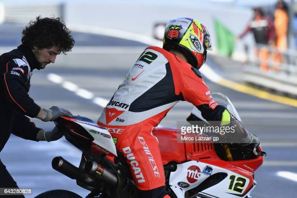 Xavi Fores of Spain and Barni Racing Team starts from box during 2017 WorldSBK preseason testing at Phillip Island Grand Prix Circuit on February 20...