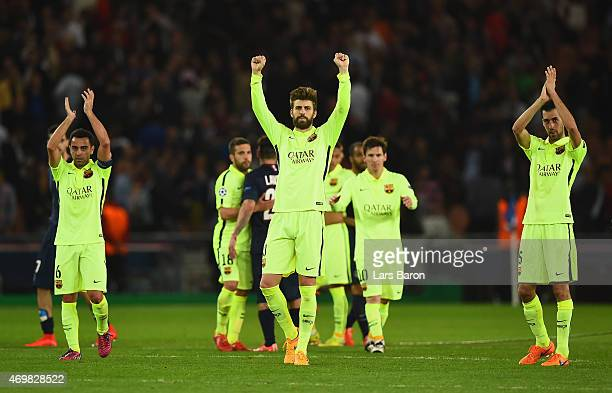 Xavi Gerard Pique and Sergio Busquets of Barcelona aelebrates after the UEFA Champions League Quarter Final First Leg match between Paris...