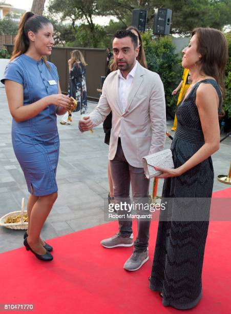 Xavi Hernandez and Nuria Cunillera attend the opening of Hotel Alabriga on July 7 2017 in Girona Spain