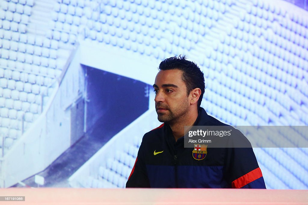 <a gi-track='captionPersonalityLinkClicked' href=/galleries/search?phrase=Xavi+Hernandez+-+Soccer+Player&family=editorial&specificpeople=2834438 ng-click='$event.stopPropagation()'>Xavi Hernandez</a> arrives for a FC Barcelona press conference ahead of their UEFA Champions League Semi Final first leg match against FC Bayern Muenchen on April 22, 2013 in Munich, Germany.