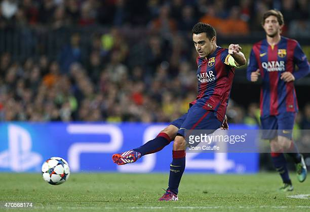 Xavi Hernandez of FC Barcelona in action during the UEFA Champions League Quarter Final second leg match between FC Barcelona and Paris SaintGermain...