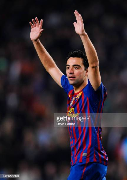 Xavi Hernandez of FC Barcelona reacts during the La Liga match between FC Barcelona and Getafe CF at Camp Nou on April 10 2012 in Barcelona Spain FC...