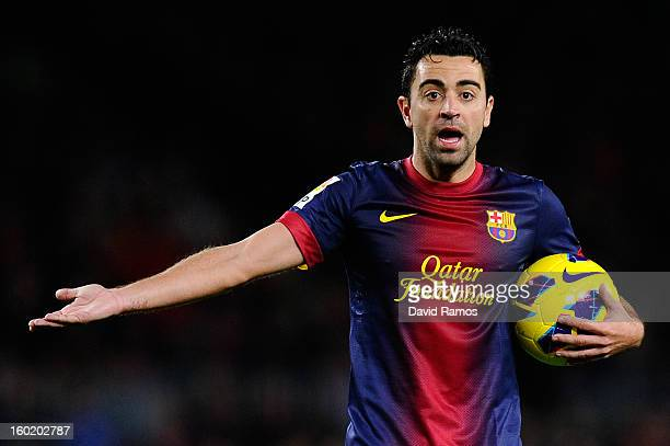 Xavi Hernandez of FC Barcelona reacts during the La Liga match between FC Barcelona and CA Osasuna at Camp Nou on January 27 2013 in Barcelona Spain...