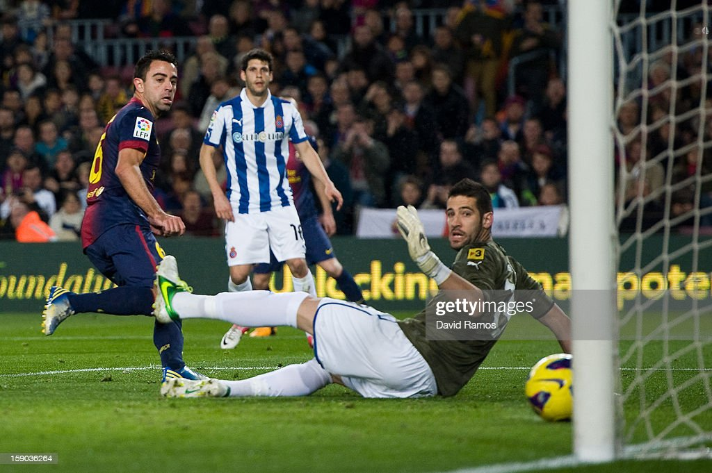 <a gi-track='captionPersonalityLinkClicked' href=/galleries/search?phrase=Xavi+Hernandez+-+Soccer+Player&family=editorial&specificpeople=2834438 ng-click='$event.stopPropagation()'>Xavi Hernandez</a> of FC Barcelona scores the opening goal during the La Liga match between FC Barcelona and RCD Espanyol at Camp Nou on January 6, 2013 in Barcelona, Spain.