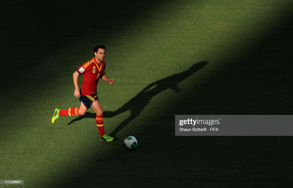 <a gi-track='captionPersonalityLinkClicked' href=/galleries/search?phrase=Xavi+Hernandez+-+Voetballer&family=editorial&specificpeople=2834438 ng-click='$event.stopPropagation()'>Xavi Hernandez</a> of Spain in action during the FIFA Confederations Cup Brazil 2013 Group B match between Nigeria and Spain at Castelao on June 23, 2013 in Fortaleza, Brazil.