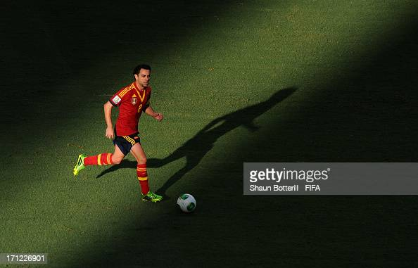Xavi Hernandez of Spain in action during the FIFA Confederations Cup Brazil 2013 Group B match between Nigeria and Spain at Castelao on June 23 2013...