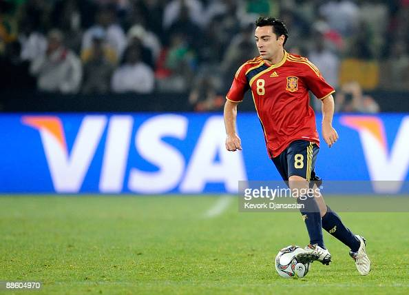 Xavi Hernandez of Spain in action during the FIFA Confederations Cup match between Spain and South Africa at the Free State stadium on June 19 2009...