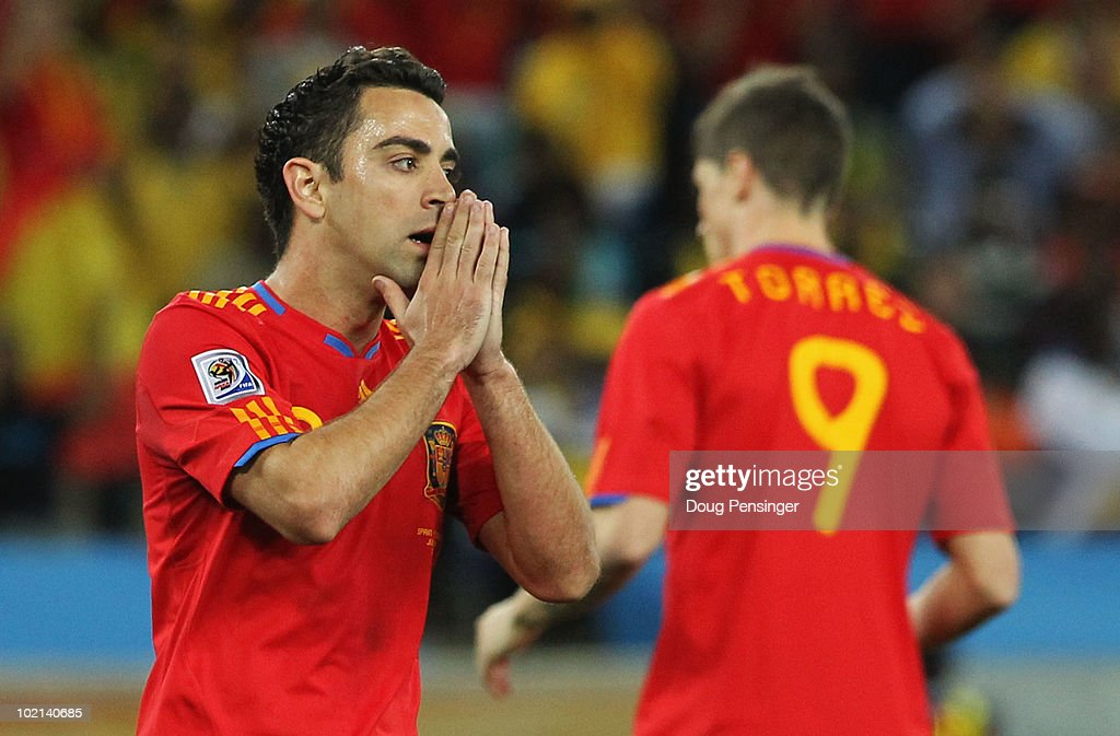 Xavi Hernandez of Spain looks dejected at the final whistle as Spain lose the 2010 FIFA World Cup South Africa Group H match between Spain and Switzerland at Durban Stadium on June 16, 2010 in Durban, South Africa.
