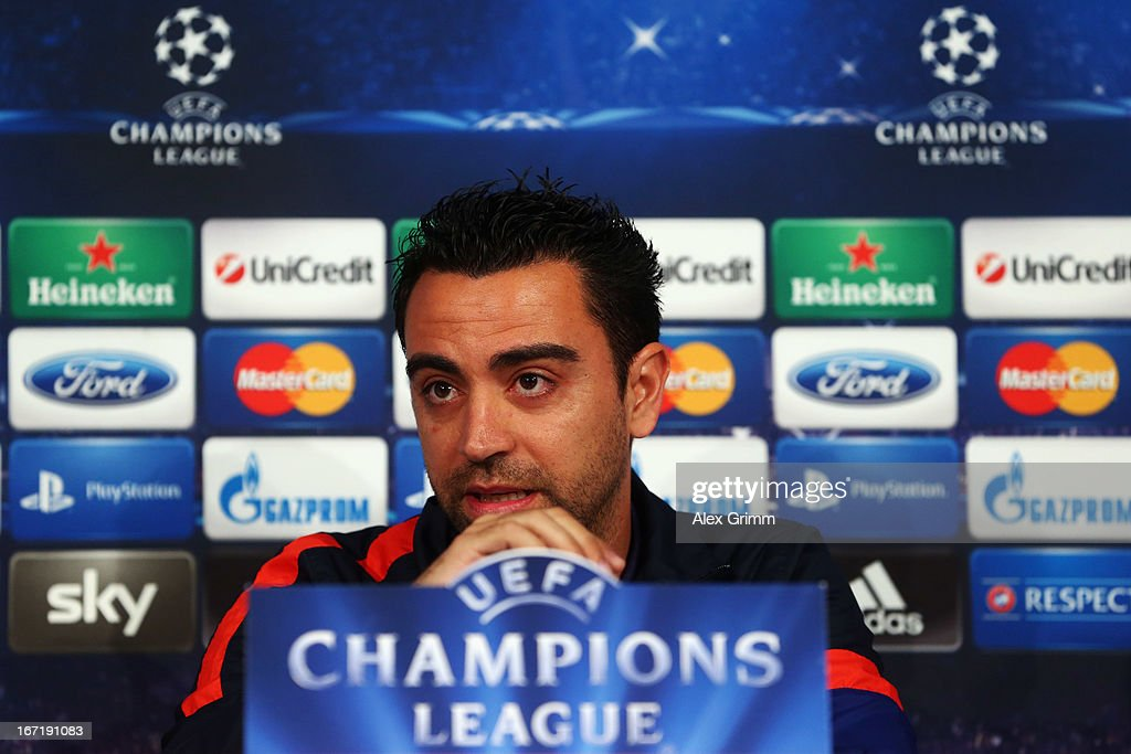 <a gi-track='captionPersonalityLinkClicked' href=/galleries/search?phrase=Xavi+Hernandez+-+Soccer+Player&family=editorial&specificpeople=2834438 ng-click='$event.stopPropagation()'>Xavi Hernandez</a> talks to the media during a FC Barcelona press conference ahead of their UEFA Champions League Semi Final first leg match against FC Bayern Muenchen on April 22, 2013 in Munich, Germany.