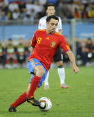 Xavi of Spain during the 2010 FIFA World Cup South Africa Semi Final match between Germany and Spain at Durban Stadium on July 7 2010 in Durban South...