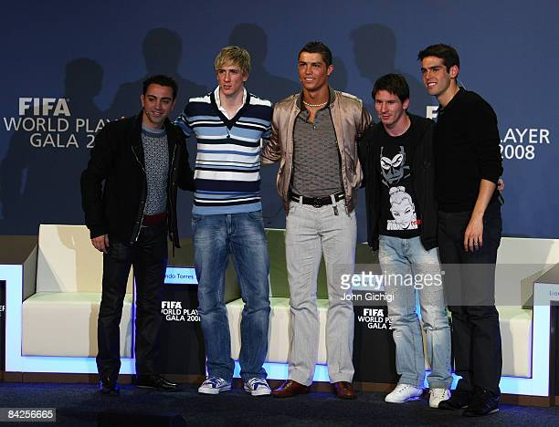 Xavi of Spain Fernando Torres of Spain Cristiano Ronaldo of Portugal Lionel Messi of Argentina and Kaka of Brazil pose for a group shot as nominees...