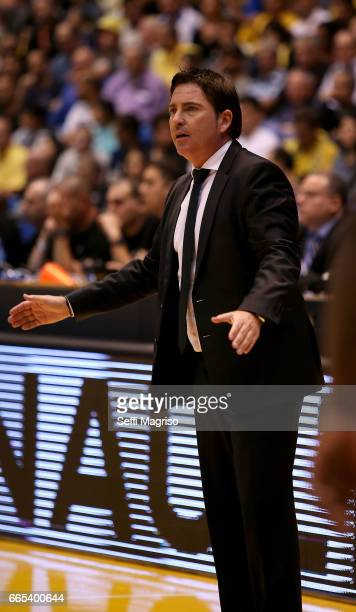 Xavi Pascual Head Coach in action during the 2016/2017 Turkish Airlines EuroLeague Regular Season Round 30 game between Maccabi Fox Tel Aviv v...