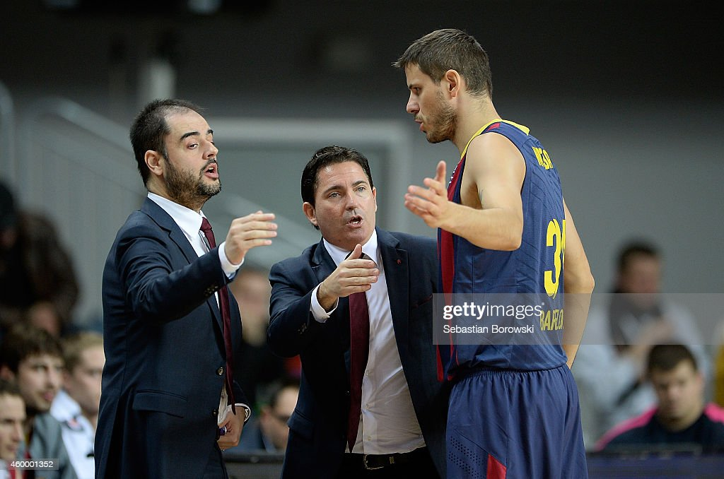 Xavi Pascual, Head Coach of FC Barcelona and <a gi-track='captionPersonalityLinkClicked' href=/galleries/search?phrase=Bostjan+Nachbar&family=editorial&specificpeople=202138 ng-click='$event.stopPropagation()'>Bostjan Nachbar</a>, #34 of FC Barcelona during the 2014-2015 Turkish Airlines Euroleague Basketball Regular Season Date 8 game between PGE Turow Zgorzelec v FC Barcelona at Regionalne Centrum Sportowe on December 5, 2014 in Zgorzelec, Poland.