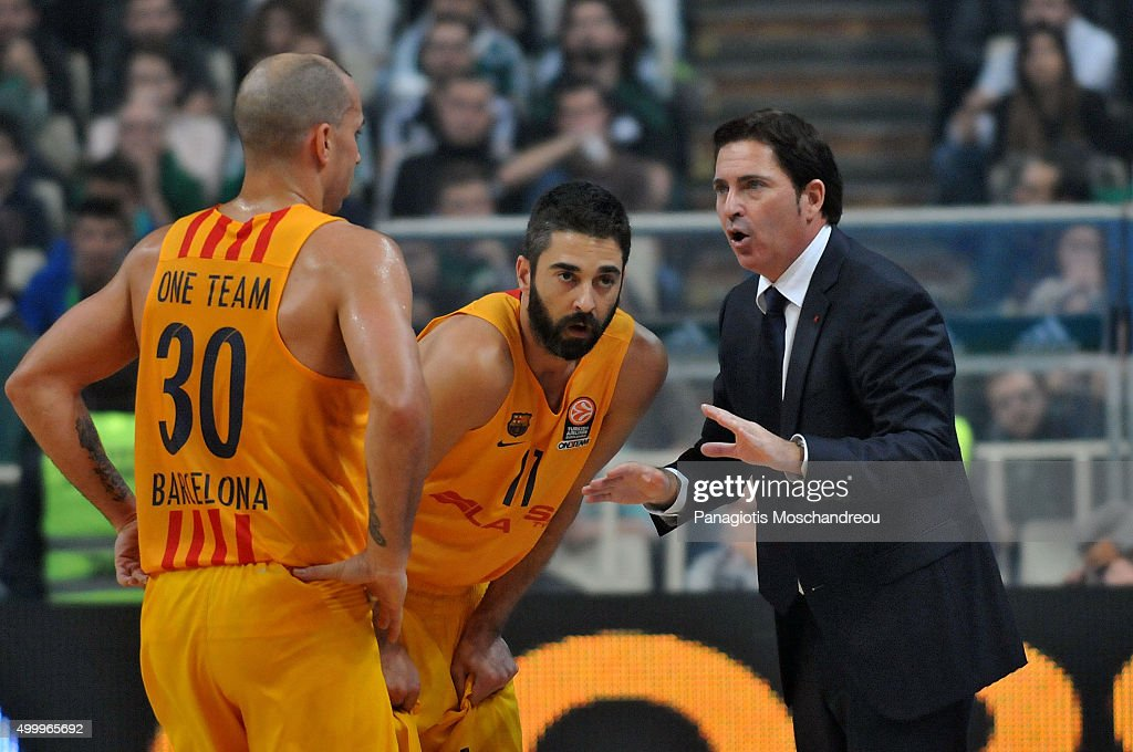 Xavi Pascual, Head Coach of FC Barcelona Lassa gives directions to his players <a gi-track='captionPersonalityLinkClicked' href=/galleries/search?phrase=Carlos+Arroyo&family=editorial&specificpeople=201991 ng-click='$event.stopPropagation()'>Carlos Arroyo</a>, #30 and <a gi-track='captionPersonalityLinkClicked' href=/galleries/search?phrase=Juan+Carlos+Navarro&family=editorial&specificpeople=879660 ng-click='$event.stopPropagation()'>Juan Carlos Navarro</a>, #11 during the Turkish Airlines Euroleague Basketball Regular Season Round 8 game between Panathinaikos Athens v FC Barcelona Lassa at Olympic Sports Center Athens on December 4, 2015 in Athens, Greece.