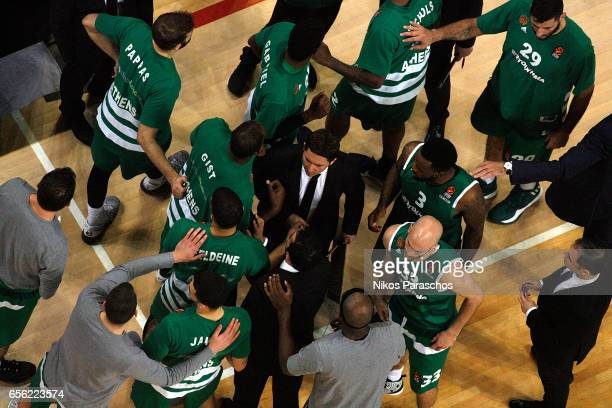 Xavi Pascual Head Coach of Panathinaikos Superfoods Athens gives directions during the 2016/2017 Turkish Airlines EuroLeague Regular Season Round 27...