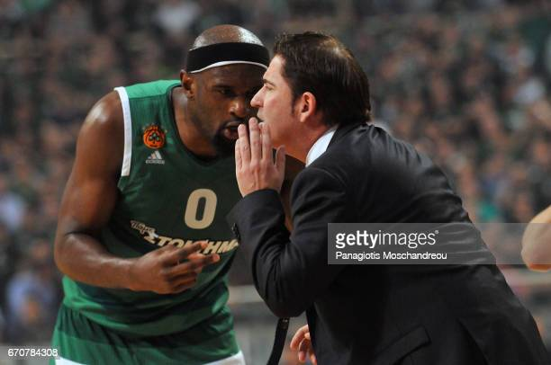 Xavi Pascual Head Coach of Panathinaikos Superfoods Athens gives directions to his player Chris Singleton #0 during the 2016/2017 Turkish Airlines...