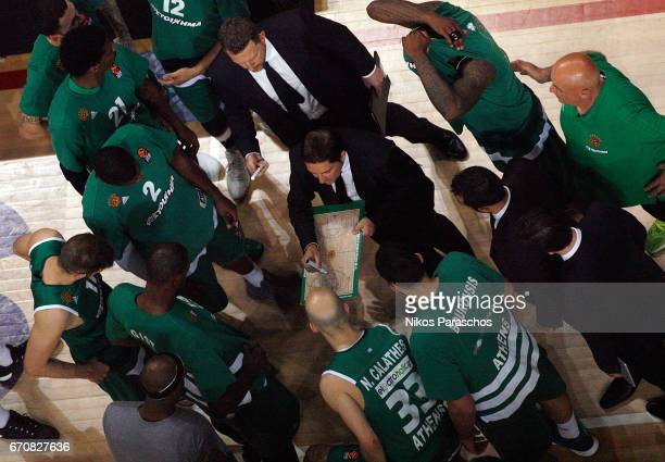 Xavi Pascual Head Coach of Panathinaikos Superfoods Athens gives directions to his players during the 2016/2017 Turkish Airlines EuroLeague Playoffs...