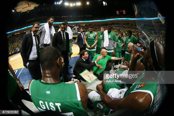 Xavi Pascual Head Coach of Panathinaikos Superfoods Athens in action during the 2016/2017 Turkish Airlines EuroLeague Playoffs leg 3 game between...