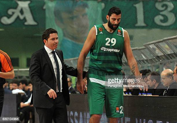 Xavi Pascual Head Coach of Panathinaikos Superfoods Athens react after the injury of his player Ioannis Bourousis #29 during the 2016/2017 Turkish...