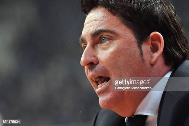 Xavi Pascual Head Coach of Panathinaikos Superfoods Athens react during the 2016/2017 Turkish Airlines EuroLeague Regular Season Round 26 game...
