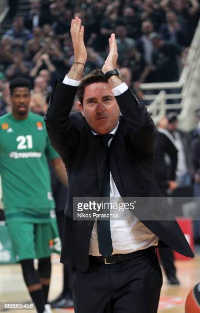 Xavi Pascual Head Coach of Panathinaikos Superfoods Athens react during the 2016/2017 Turkish Airlines EuroLeague Playoffs leg 1 game between...