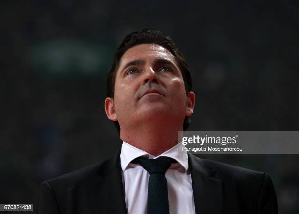 Xavi Pascual Head Coach of Panathinaikos Superfoods Athens react during the 2016/2017 Turkish Airlines EuroLeague Playoffs leg 2 game between...