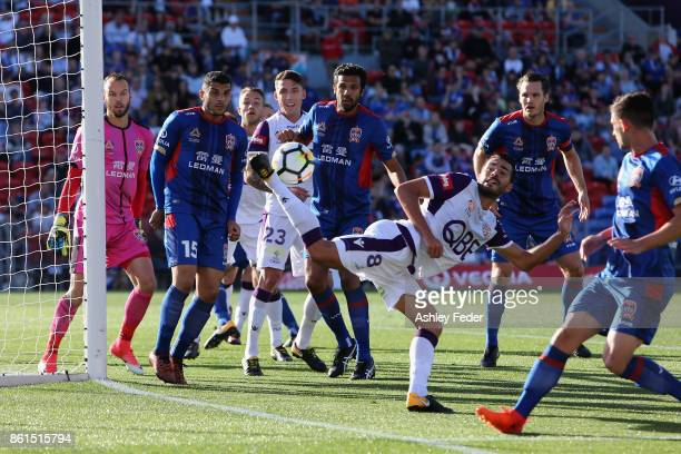 Xavi Torres of Perth Glory attempts to score a goal during the round two ALeague match between the Newcastle Jets and Perth Glory at McDonald Jones...