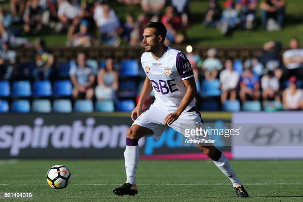 Xavi Torres of Perth Glory in action during the round two ALeague match between the Newcastle Jets and Perth Glory at McDonald Jones Stadium on...