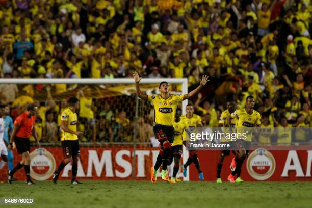 Xavier Arrega of Barcelona SC celebrates after scoring the first goal of his team during a first leg match between Barcelona SC and Santos as part of...
