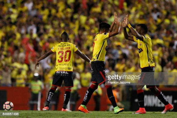Xavier Arrega of Barcelona SC celebrates after scoring the first goal of histeam during a first leg match between Barcelona SC and Santos as part of...