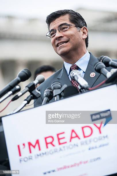 Xavier Becerra speaks during the I'm Ready for Immigration Reform campaign press conference at the House Triangle on April 15 2013 in Washington DC